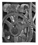 Rust Gears And Wheels Black And White Fleece Blanket