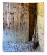 Rustic Door And Broom Fleece Blanket