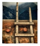 Rustic Ladder On Adobe House Fleece Blanket