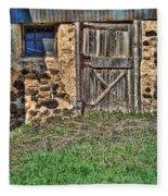 Rustic Wooden Door In Stone Barn Fleece Blanket