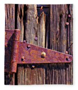 Rusty Barn Door Hinge  Fleece Blanket