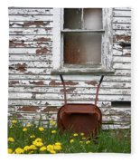 Rusty Wheelbarrow And Wildflowers Fleece Blanket