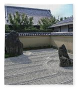 Ryogen-in Raked Gravel Garden - Kyoto Japan Fleece Blanket