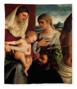 Sacra Conversatione With Ss Catherine Sebastian And Holy Family Fleece Blanket
