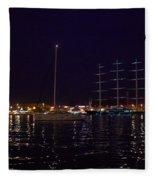 Sailboat And Maltese Hawk Fleece Blanket