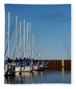 Sailboat Docking By Break Water Wall Fleece Blanket