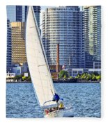 Sailboat In Toronto Harbor Fleece Blanket