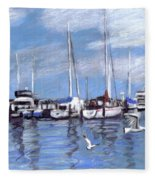 Sailboats And Seagulls Fleece Blanket
