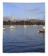Sailboats At Anchor In Bowness On Windermere Fleece Blanket