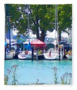 Sailboats In Dock Fleece Blanket