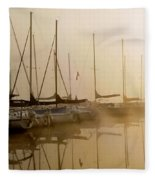 Sailboats In Golden Fog Fleece Blanket