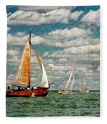 Sailboats In The Netherlands By The Zuiderzee Fleece Blanket