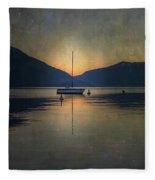 Sailing Boat At Night Fleece Blanket