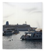 Sailing Boats And A Large Yacht In The Harbour At Sharm El Sheikh Fleece Blanket