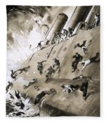 Sailors Escaping Hms Natal Which Caught Fire In Cromerty Firth In 1915 Fleece Blanket