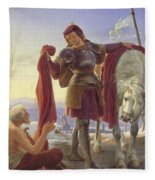 Saint Martin And The Beggar Fleece Blanket
