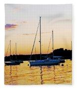 Salem Harbor Amber Sunset Fleece Blanket