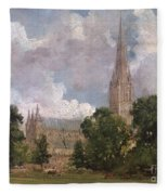 Salisbury Cathedral From The South West Fleece Blanket
