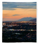 Salt Lake Nightscape Fleece Blanket