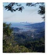 San Francisco As Seen Through The Redwoods On Mt Tamalpais Fleece Blanket