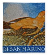 San Marino 1 Lire Stamp Fleece Blanket
