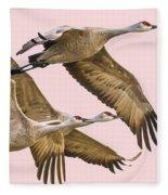 Sandhill Crane Family II Fleece Blanket