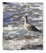 Sandpiper In The Surf Fleece Blanket