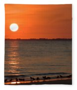 Sandpipers At Sundown Fleece Blanket