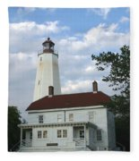 Sandy Hook Lighthouse And Building Fleece Blanket
