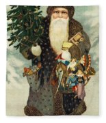 Santa Claus With Toys Fleece Blanket