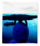 Santorini By Night Greece Fleece Blanket
