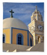Santorini Church Fleece Blanket