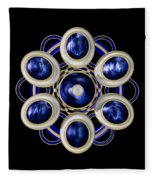 Sapphire And Gold Brooch Fleece Blanket
