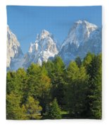 Sasso Lungo Group In The Dolomites Of Italy Fleece Blanket