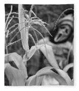 Scarecrow In The Corn Black And White Fleece Blanket