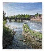 Scenic Landscape With Old Dee Bridge Fleece Blanket