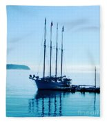 Schooner At Dock Bar Harbor Me Fleece Blanket