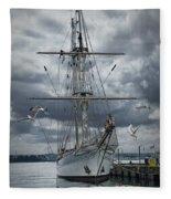 Schooner In Halifax Harbor Fleece Blanket