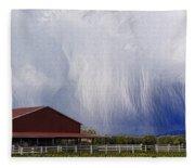Scifi Storm And Red Barn Fleece Blanket