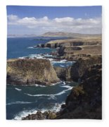 Sea Cliffs And Coastline Near Erris Fleece Blanket