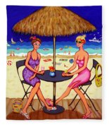 Sea For Two - Girlfriends At Beach Fleece Blanket