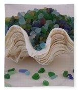 Sea Glass In Clam Shell - No 1 Fleece Blanket