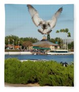 Sea Gull With Full Flaps Fleece Blanket