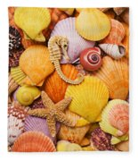 Sea Horse Starfish And Seashells  Fleece Blanket