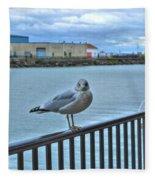 Seagull At Lighthouse Fleece Blanket