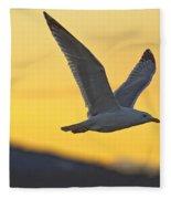 Seagull Flying At Dusk With Sunset Fleece Blanket