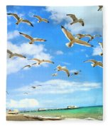 Seagulls At Worthing Sussex Fleece Blanket