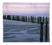 Seascape At Dusk With Pillars In Fleece Blanket