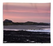 Seashore At Sunset, Northumberland Fleece Blanket
