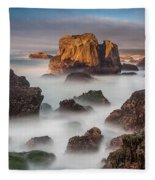 Seastacks In The Mists Fleece Blanket